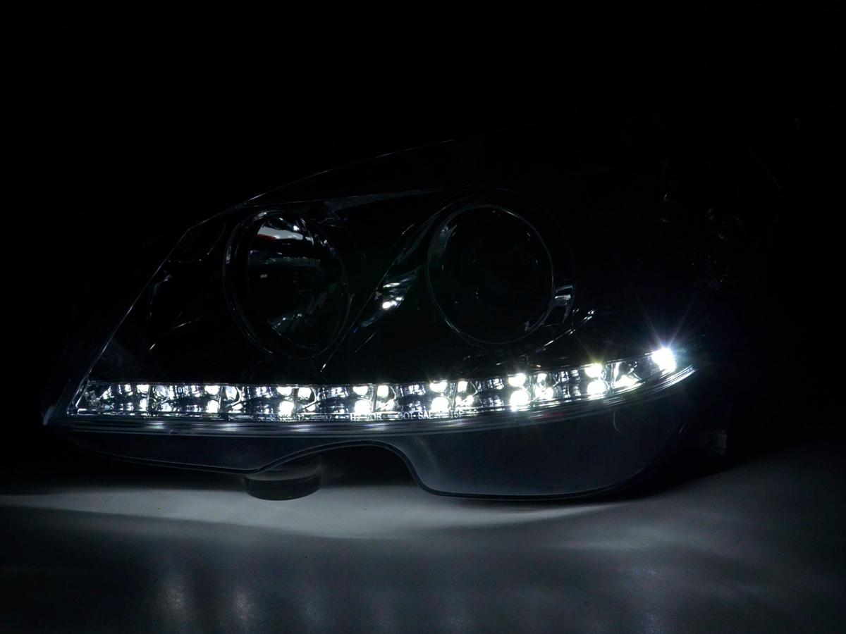 Mercedes c class w204 2007 2011 black led drl r8 style for Mercedes benz c300 headlight bulb