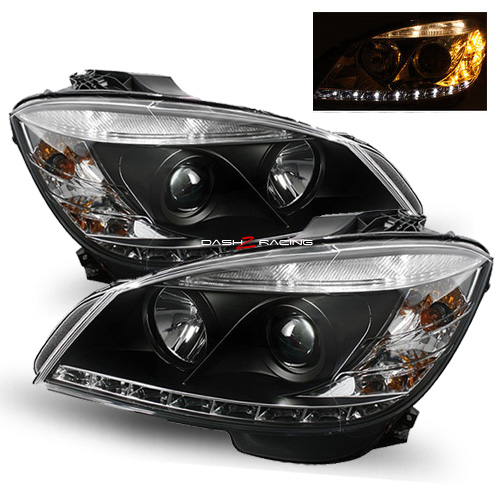 Mercedes c class w204 2007 2011 black led drl daylight for Mercedes benz c300 headlight bulb